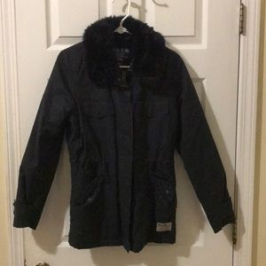 jack wills blue jacket with furry inside